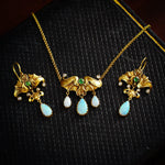Ravishing Matching Set of Jugendstihl Art Nouveau Necklace and Earrings