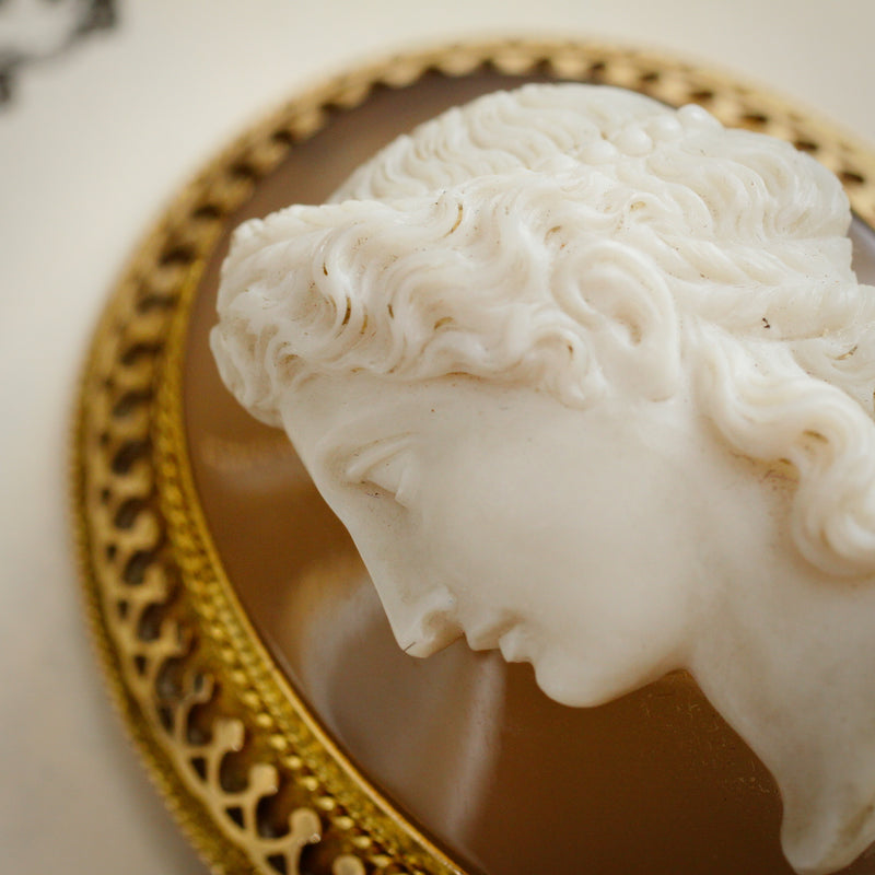 Majestic Superior Quality Antique Onyx Cameo Brooch
