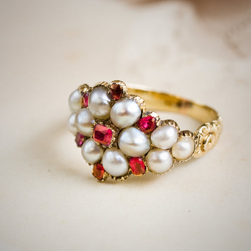 Antique Georgian Ruby & Natural Pearl Cluster Ring