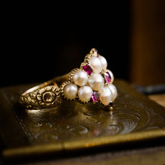 Thou Dost Enthrall Me! Antique Georgian Ruby & Natural Pearl Cluster Ring