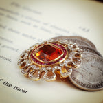 Extraordinary Pristine Antique Edwardian Hessonite Garnet, Ruby and Diamond Brooch