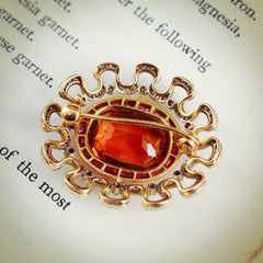 Extraordinary Antique Edwardian Citrine, Ruby and Diamond Brooch