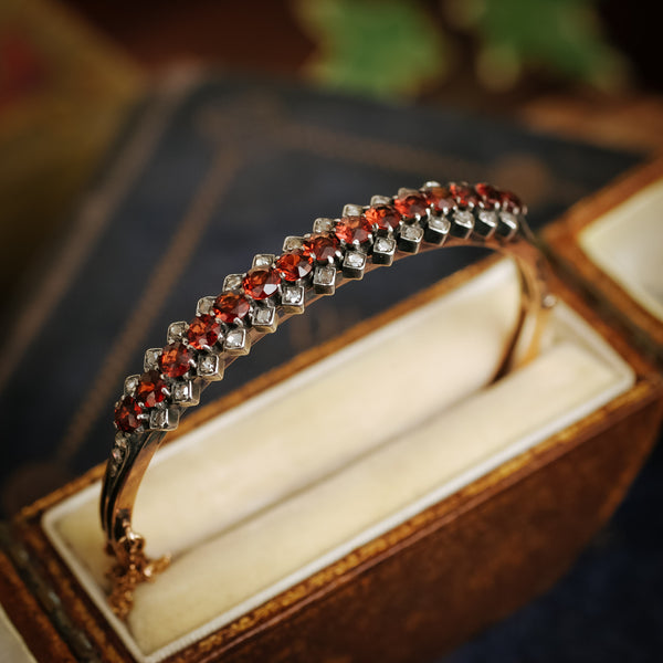 Antique Date 1895 Hessonite Garnet and Rose-cut Diamond Bangle Bracelet