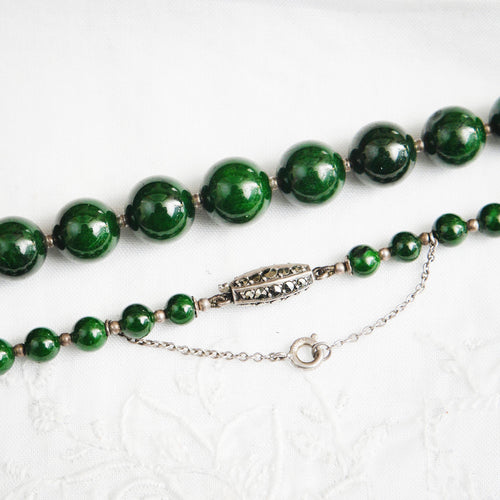 Verdant Vintage 1930's Green Marble Beads