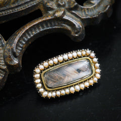 Heartfelt Sentimental Seed Pearl Fichu Pin