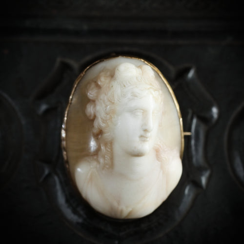 Unusual Antique High Profile Ariadne Roman Goddess Shell Cameo