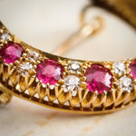 Antique Victorian Ruby & Diamond Crescent Brooch