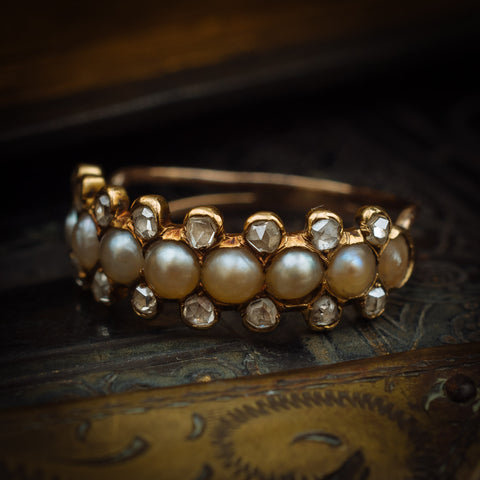 Devotedly Divine Antique Victorian Pearl and Diamond Band Ring