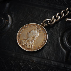Fabulous Antique Date 1893 Silver 'Albert' Watch Chain with Lucky Sixpence