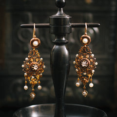 Antique French Pearl and Diamond Earrings