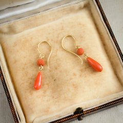 Hand Carved Antique Peach Coral 18ct Gold Drop Earrings
