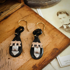 Cutest! Antique Victorian Whitby Jet Buckle Earrings