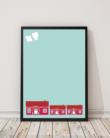 Houses and Sky (50x70 cm)