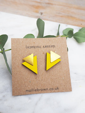 Triangle Stud Earrings - Bright Yellow