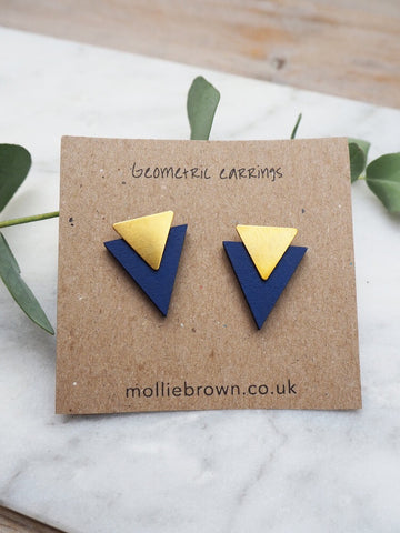 Triangle Stud Earrings - Royal Blue - Godiva Boutique