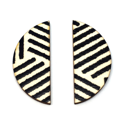Zebra Screen Printed Wooden Earrings - Godiva Boutique