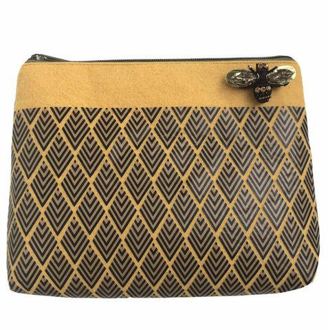Mustard Yellow Art Deco Make-Up Bag with Pin Brooch