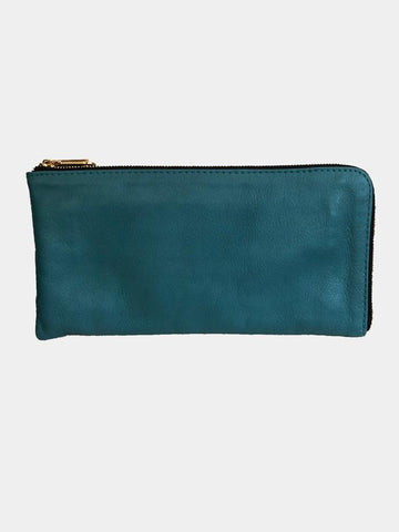 Leather Wallet Purse - Turquoise - Godiva Boutique
