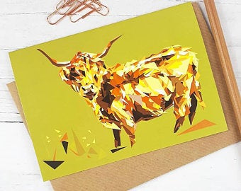 Illustrated Greeting Card - Highland Cow