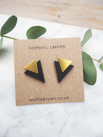Triangle Stud Earrings - Black - Godiva Boutique