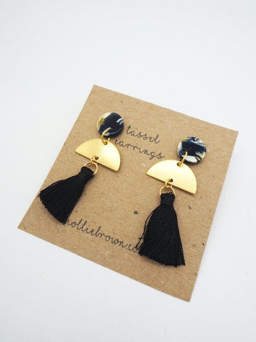 Tassel Stud Earrings - Black - Godiva Boutique