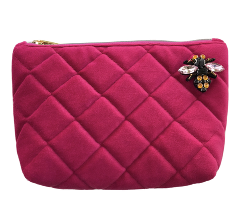 Bright Pink Nolita Make-Up Bag with Insect Pin Brooch