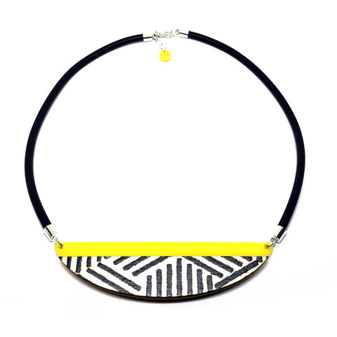 Zebra Semi Circle Necklace - Yellow - Godiva Boutique