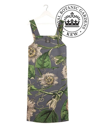 KEW Grey Passion Flower Pinafore Apron