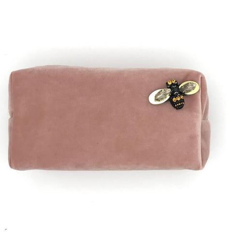 Powder Pink Velvet Makeup Bag with Pin Brooch