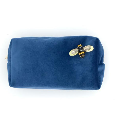 Royal Blue Velvet Makeup Bag with Pin Brooch