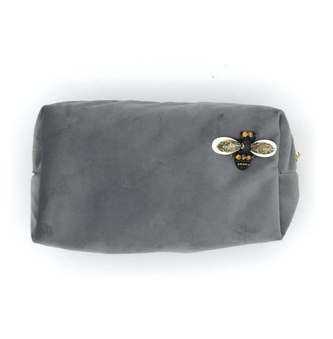 Grey Velvet Makeup Bag with Pin Brooch