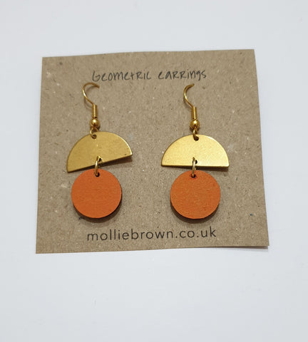 Circle Dangle Earrings - Orange - Godiva Boutique
