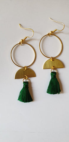 Tassel Hoop Earrings - Green - Godiva Boutique