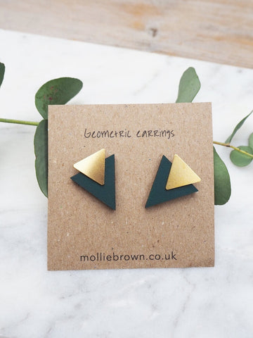 Triangle Stud Earrings - Racing Green
