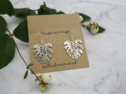 Monstera Silver Brass Dangle Earrings - Godiva Boutique