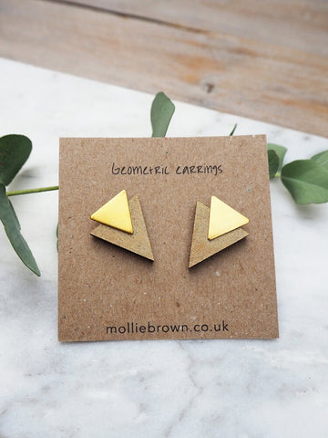 Triangle Stud Earrings - Gold