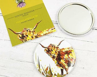 Pocket Mirror - Highland Cow