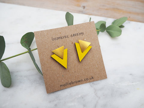 Triangle Stud Earrings - Mustard - Godiva Boutique