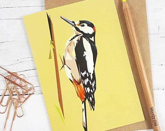 Illustrated Greeting Card - Woodpecker