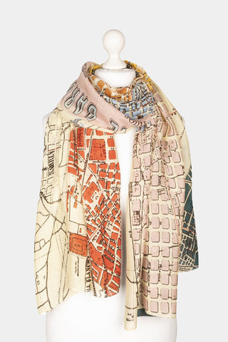 Barcelona Map Scarf - Godiva Boutique
