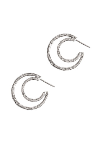 Double Meteorite Textured Hoops - Godiva Boutique