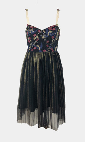 Pleat Tulle Hummingbird Dress - Godiva Boutique