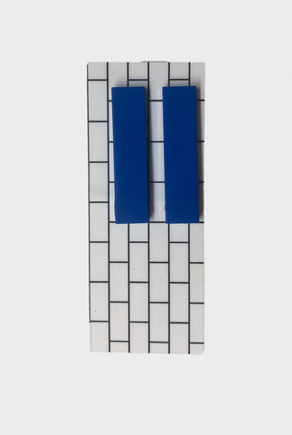 Lego Long Rectangle Earrings - Blue - Godiva Boutique