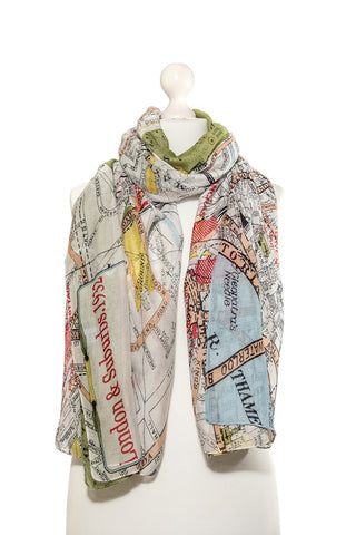 London Map Scarf - Godiva Boutique