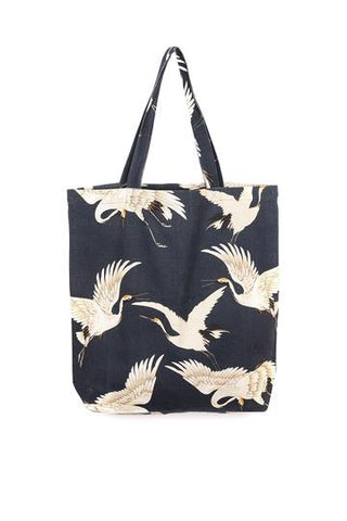 Charcoal Stork Canvas Bag
