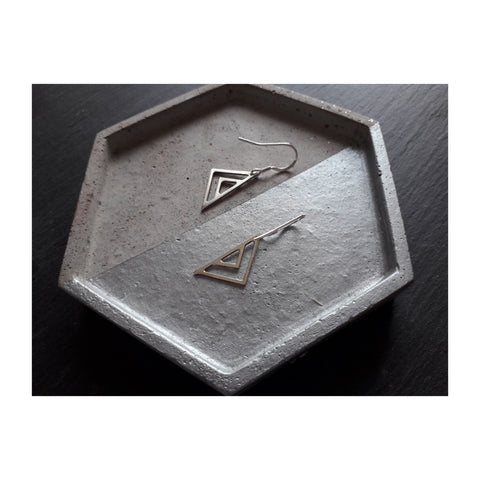 Triangle Silver Earrings - Godiva Boutique