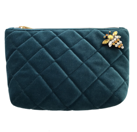 Teal Velvet Nolita Make-Up Bag with Insect Pin Brooch