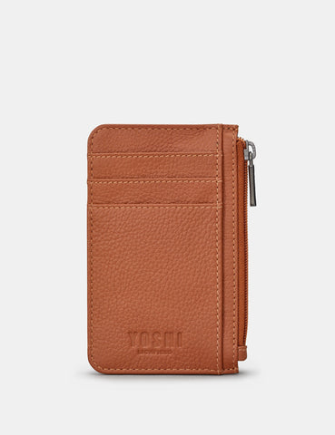 Morton Zipped Leather Card Holder - Tan