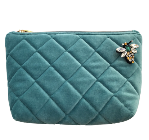 Duck Egg Blue Nolita Make-Up Bag with Insect Pin Brooch