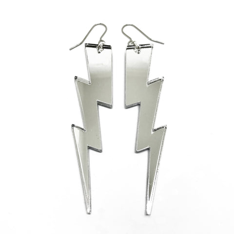 Big Bolt Earrings - Silver - Godiva Boutique